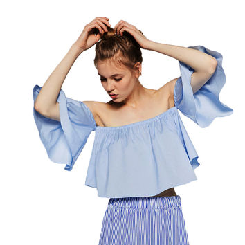 Off The Shoulder Blusas Sleeve Short Jean Denim Shirt Women Cropped Crop Tops Blue Fashion Casual Loose Shirt Summer 2016 tops