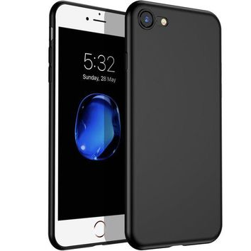 DCK4S2 iPhone 8 Case/ iPhone 7 Case, VANMASS Ultra Thin Lightweight Slim Fit Shell Flexible Soft Rubber TPU Full Protective Anti-Scratch Matte Back Cover Case for Apple iPhone 8(2017)iPhone 7(2016)(Black)