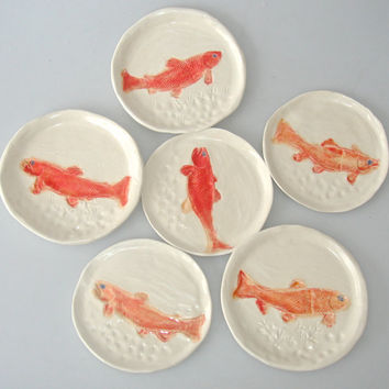 Appetizer plate set, 4 fish plates, tapas plate, small plate, coral, salmon plate, fish dish, handpainted plates, ocean inspired plates,