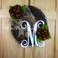 Hydrangea wreath - spring wreath - summer wreath - mothers day  - housewarming - celestial wreath