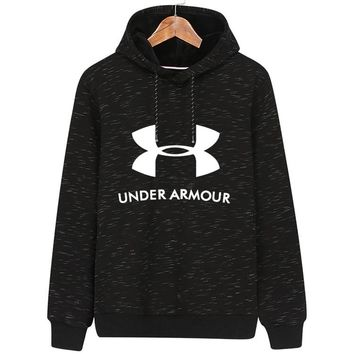 Under Armour autumn and winter models men's hooded sports jacket plus velvet pullover sweater black