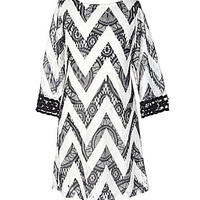 My Michelle 7-16 Crocheted-Lace Chevron-Patterned Dress - Black