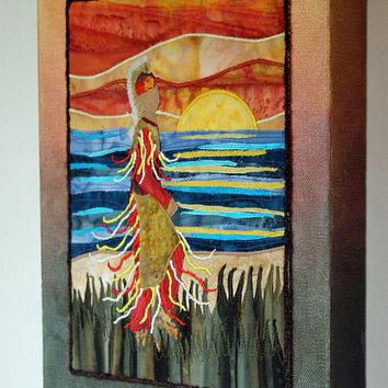 Native American Grass Dancer, Landscape, art quilt on canvas, home decor, ooak