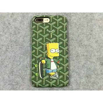 Simpson Tide brand creative cartoon couple models iPhone6s mobile phone case F-OF-SJK Green