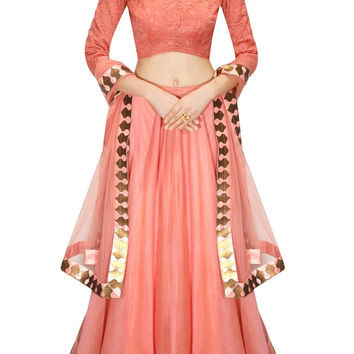Coral Color Bridal Lehenga Choli