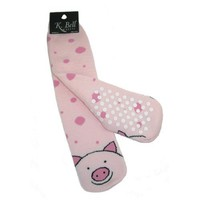 K. Bell Pig Non Skid Slipper Socks - Pink, One Size