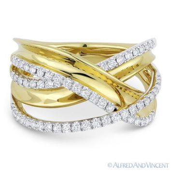 0.53 ct Diamond Right-Hand Overlap Loop Fashion Ring in 14k Yellow & White Gold