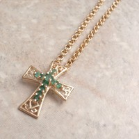Emerald Cross Necklace 14K Yellow Gold 20 Inch Chain Vintage
