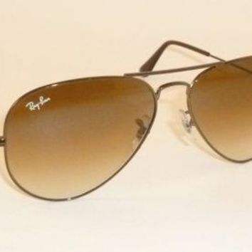 New Authentic Ray-Ban Aviator Sunglasses RB3025 014/51 Brown Dark Brown Gradient