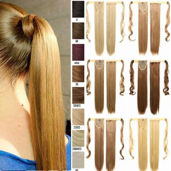 100% Natural Hair Wrap On Pony Tail Hair Piece Clip in Hair Extensions Ponytail