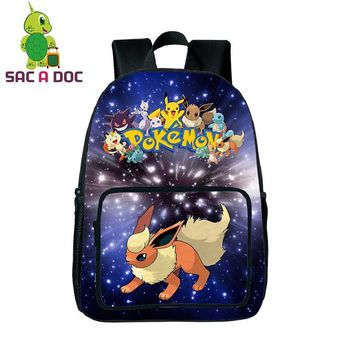 Galaxy  Flareon Backpack Women School Shoulder Bag Universe Space Printing Laptop Travel Backpack for Teenage Girls BoysKawaii Pokemon go  AT_89_9