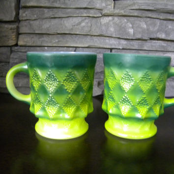 Mugs, Fire-king by Anchor Hocking Green Kimberly Mugs, Set of 2- In Good Condition-1970s