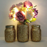 golden yellow mason jars - golden glitter 3 piece mason jar vase and candle holder wedding decor, home decor, bridal shower decor, gift NEW