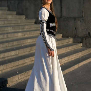 "Medieval Wedding Dress and Vest ""Chess Queen""; white dress; wedding gown; medieval wedding; ren wedding dress"