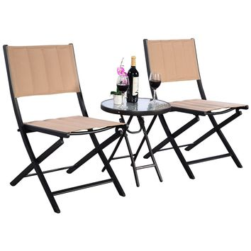 3PCS Outdoor Patio Folding Table Chairs Furniture Set Bistro Garden Steel New