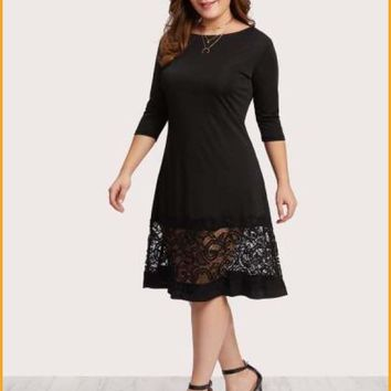 Extended Sizes Lace Panel Dress