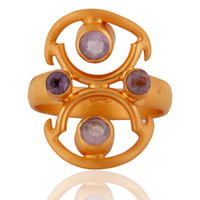 Handmade 925 Sterling Silver Natural Gemstone Amethyst Yellow Gold Plated Ring