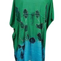Mogul Women's Kaftan Dress Greeen Tie-Dye Sequin Embroidered Beach Cover up XXL: Amazon.ca: Clothing & Accessories