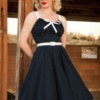 Molly Dress in Navy with White Dots