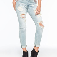 MACHINE Destroyed Rolled Cuff Womens Skinny Jeans | Skinny