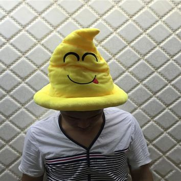 New Hot Funny Emoji Plush Hat Cushion Poop shape cap for Women Birthday Gift Expressions cap Halloween Costumes for Women