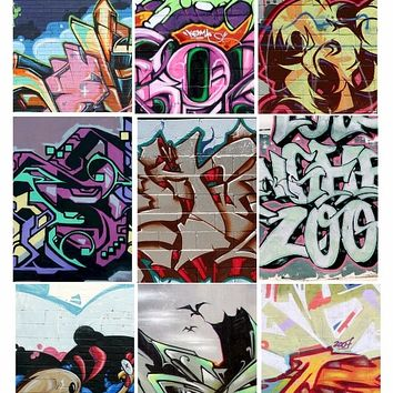 graphitti murals art brick wall aceo digital download collage sheet 2.5 x 3.5 inch size graphics images ghetto the hood