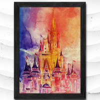 Princess Castle Watercolor Print Disney Poster Art Print Baby Room Illustrations Room Princess Nursery Kids Room Gift Linen Poster CAP115