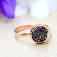 Peacock Ring,Rose Gold,Druzy Ring,Quartz Ring,Agate Ring,Geode Ring,Gold Ring,Mother Ring,Gemstone,Stacking ring,Delicate ring,Drusy ring
