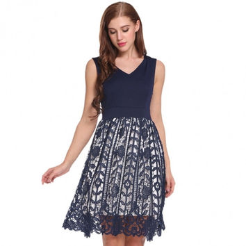 Women V-Neck Sleeveless Floral Lace Party Cocktail Skater Dress