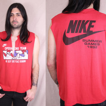 Vintage - 90s - NIKE - Gray Tag - Red - We Keep This Place Running - Runners - Cut Off - Muscle - T Shirt - Tank Top