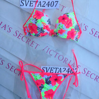 New Sexy Victoria's Secret PINK Bikini Set Push Up L M Floral Multicolor