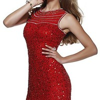 Short Red High Neck Sequin Dress by Shail K