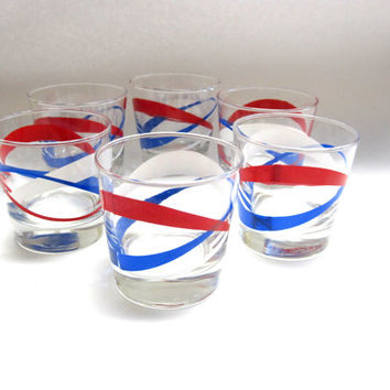 Vintage Mid Century Drink Glasses Red White Blue Tumblers Bar Ware Glass Set of Six