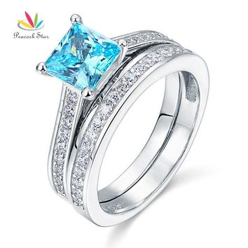 Peacock Star 1.5 Ct Princess Cut Fancy Blue Solid 925 Sterling Silver 2-Pcs Engagement Wedding Ring Set CFR8196S
