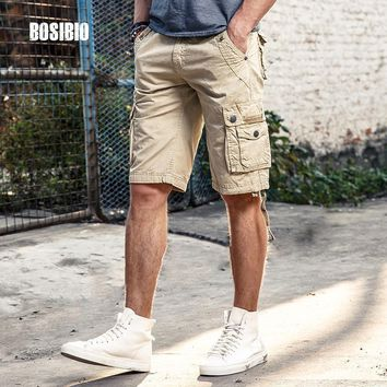 Summer Mens Camo Cargo Shorts Work Casual Loose Khaki Solid 100% Cotton Short Pants Top Selling Plus Size FH3232