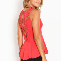 BACK BOW PEPLUM TOP