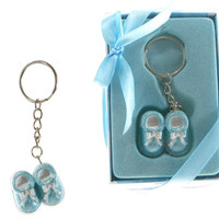 Pair of Baby Shoes Key Chain - Blue - 48 Units
