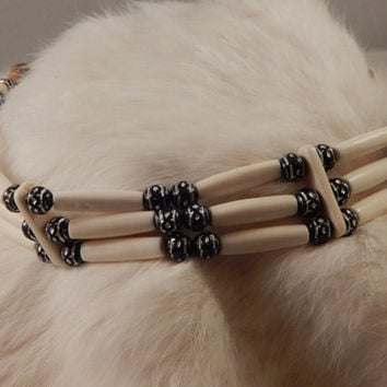 bone choker with unique glass round beads, three strand, metis made native american pow wow regalia, Authentic traditional dancer, under 40