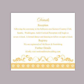 DIY Wedding Details Card Template Editable Text Word File Download Printable Details Card Yellow Gold Details Card Elegant Enclosure Cards