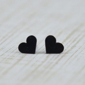 Sterling Silver Black Heart Stud Earrings - Handmade Hand Cut Petite Heart Earring Studs by Gioielli Designs - Gifts Under 20