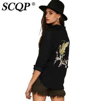 SCQP Bird Floral Embroidery Satin Woman Shirt Long Sleeve Ladies Army Formal Womens Blouses Office Fashion Summer Women Tops