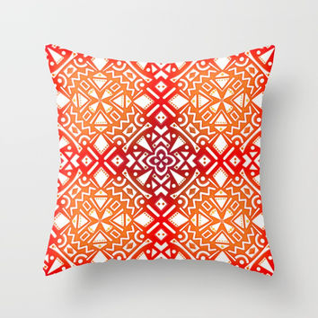 Tribal Tiles II (Red, Orange, Brown) Geometric Throw Pillow by AEJ Design