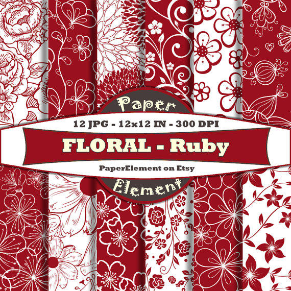 Ruby Red Floral Digital Scrapbook Paper From Paperelement