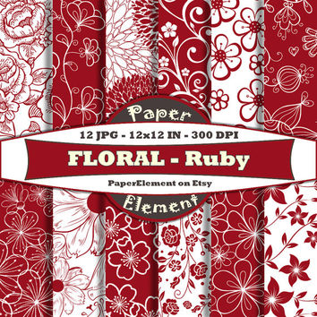 Ruby Red Floral Digital Scrapbook Paper - Flower Digital Paper - Instant Download