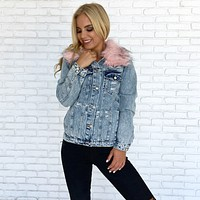 What the Fur Distressed Denim Jacket