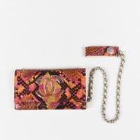 Chanel Pink Multicolor Python 'CC' Flap Change Purse