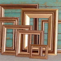 Vintage Rose Gold Open Picture Frames Hollywood Regency Romantic Wedding Lot 7