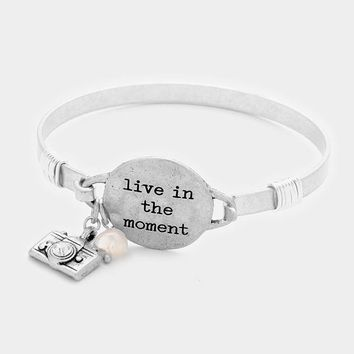 """Live In The Moment"" Camera Charm Hook Bracelet"