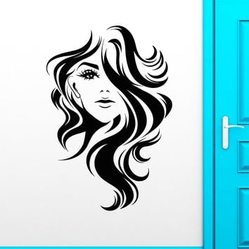 Vinyl Wall Decal Beauty Long Hair Salon Girl Face Hairstyle Stickers (2369ig)