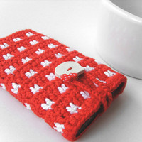 Red Samsung Hello Kitty case, Red Hello Kitty iPhone case, red white dot pattern case, iTouch cover, iPod case, red phone case, crochet case